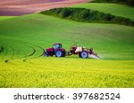 farm machinery spraying... | Shutterstock . vector #397682524