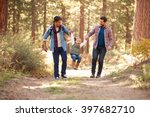 gay male couple with daughter... | Shutterstock . vector #397682710