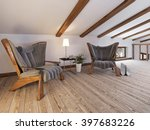 the attic floor with a seating... | Shutterstock . vector #397683226
