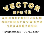 sticker gold font a z   Shutterstock .eps vector #397685254