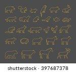 gold line set of domestic  farm ... | Shutterstock . vector #397687378