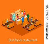isometric fast food restaurant | Shutterstock . vector #397687738