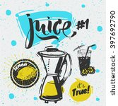 sketched styled   fresh juice ... | Shutterstock .eps vector #397692790