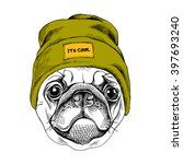 portrait of the pug in a... | Shutterstock .eps vector #397693240