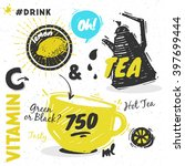 sketched styled tea set   tea ... | Shutterstock .eps vector #397699444