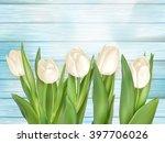 tulip flower on turquoise...   Shutterstock .eps vector #397706026