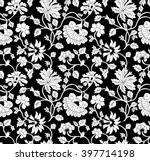 seamless black and white floral ...