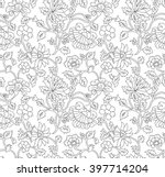 black and white outline floral...