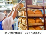 factory worker puts bread on... | Shutterstock . vector #397715650