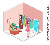 isometric interior of clothes... | Shutterstock . vector #397716688