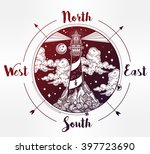 decorative lighthouse wind rose ... | Shutterstock .eps vector #397723690