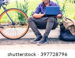 indian man with laptop and... | Shutterstock . vector #397728796