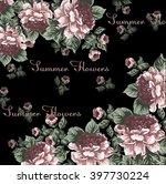 summer peony flower frame in... | Shutterstock .eps vector #397730224