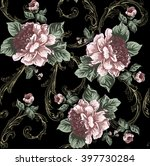 baroque pattern with peony... | Shutterstock .eps vector #397730284