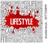 lifestyle word cloud background ... | Shutterstock .eps vector #397733899