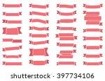 red ribbons set  vector eps10... | Shutterstock .eps vector #397734106