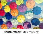 Colorful umbrellas background....