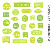 big set of healthy food badges. ... | Shutterstock .eps vector #397753804