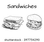 sandwich and burger outline... | Shutterstock .eps vector #397754290