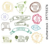 set of hand drawn eco frendly... | Shutterstock .eps vector #397755376