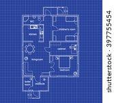 blueprint floor plan of a... | Shutterstock .eps vector #397755454