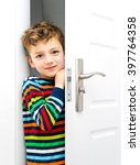 happy smiling boy looking out...   Shutterstock . vector #397764358