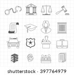 law and justice thin line... | Shutterstock .eps vector #397764979