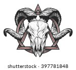ram skull with a geometric...