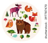 vector set with forest animals... | Shutterstock .eps vector #397787470