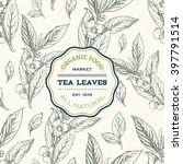 Stock vector tea leaves design template vector seamless pattern with hand drawn tea leaves sketch vintage 397791514