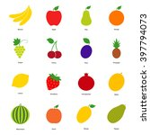 set of color fruit icons and... | Shutterstock .eps vector #397794073