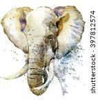 elephant watercolor... | Shutterstock . vector #397812574