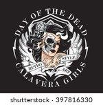 day of dead girl black and... | Shutterstock .eps vector #397816330