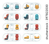 Child Car Seats Icons Set....