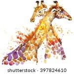 Giraffe Watercolor Illustratio...