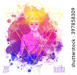 sitting buddha over watercolor... | Shutterstock .eps vector #397858309
