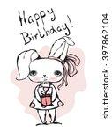 cute bunny girl happy birthday... | Shutterstock .eps vector #397862104