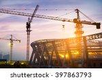 lots of tower cranes build...   Shutterstock . vector #397863793