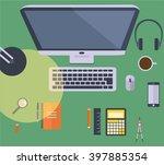 desk view  flat design vector | Shutterstock .eps vector #397885354