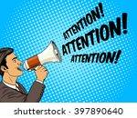 businessman with megaphone pop... | Shutterstock .eps vector #397890640