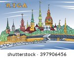 vector sketch of old town and... | Shutterstock .eps vector #397906456
