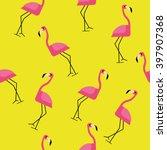 pink flamingo seamless pattern... | Shutterstock .eps vector #397907368