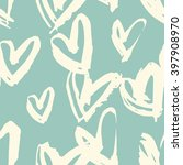 teal modern painted hearts... | Shutterstock .eps vector #397908970