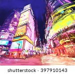 digital painting of  city with... | Shutterstock . vector #397910143