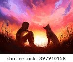 digital painting of man and his ... | Shutterstock . vector #397910158
