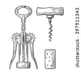 wing and basic  corkscrew  cork.... | Shutterstock .eps vector #397911343