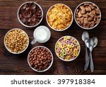 bowls of various cereals and... | Shutterstock . vector #397918384