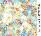 vintage garden spring seamless...   Shutterstock .eps vector #397923544