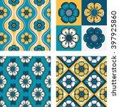 Set Of Four Geometrical Pattern ...