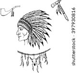 man in the native american... | Shutterstock .eps vector #397930816